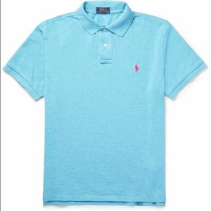 Polo Ralph Lauren light blue polo, pink pony, L